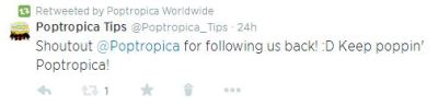 Poptropica Follows Us Tweet